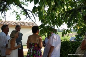 Aperitifs under the trees at Chateau Feely