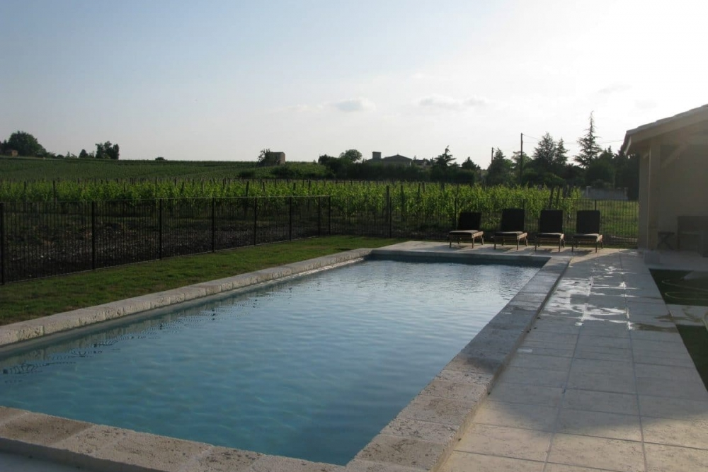 Chateau Feely 12m swimming pool and view of vines