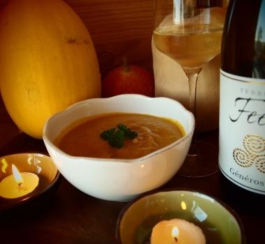 Thanksgiving Vegan Butternut Squash Soup Recipe and wine pairing